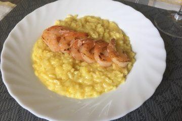 Šafránové rizoto s krevetami